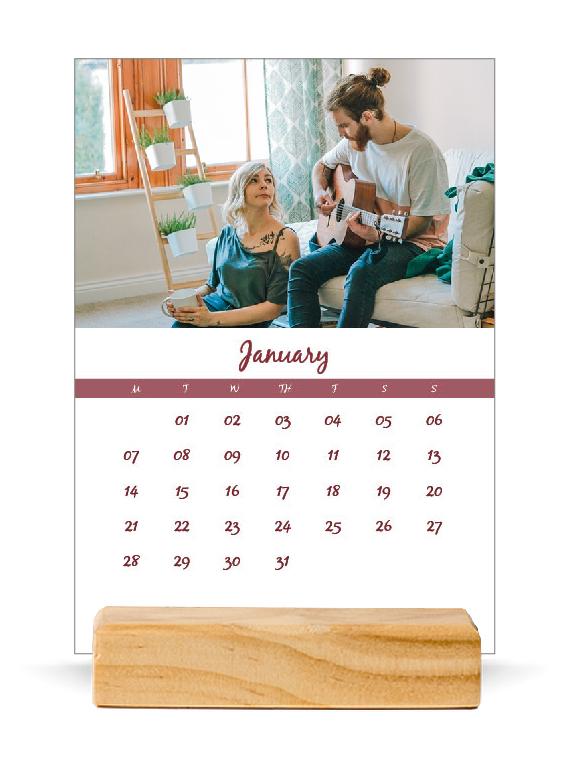 Kalendar personal tavoline me bazë druri